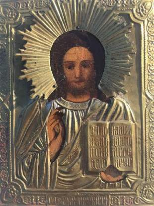 Antique Russian Icon of CHRIST Pantocrator