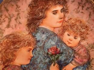 Edna Hibel plate titled Elizabeth, Jordan & Janie