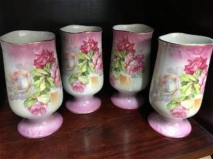 Set of four hand painted Nippon vases