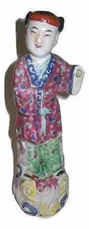 A Vintage Chinese Figurine rose medallion Statue