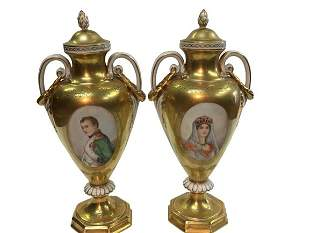 A pair of Dresden French style urns