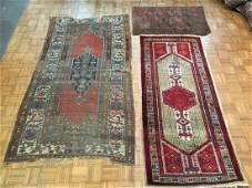 Three antique scattered rugs