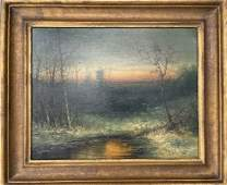 George Inness (1825 - 1894) Oil on Canvas Winter Sunset