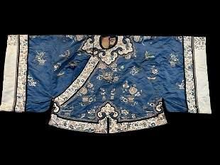 Antique Oriental Embroidered Silk Blue Ground Robe