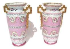 "Pair of vintage Limoges porcelain urns 14"" inches tall"