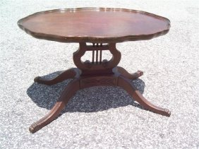Antique Short Sheraton Style Tea Table With Lyer Base