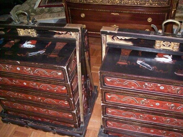 Important Antique Chinese Wedding Dowry Boxes & Carrier - 2