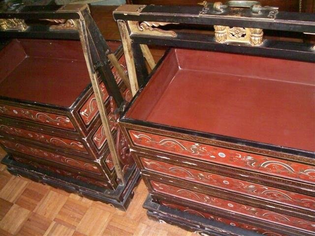 Important Antique Chinese Wedding Dowry Boxes & Carrier - 3