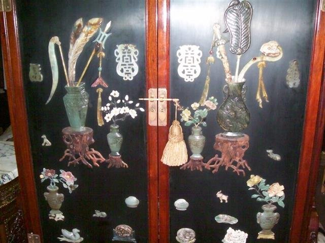 Important Chinese Jade covered rosewood display Cabinet