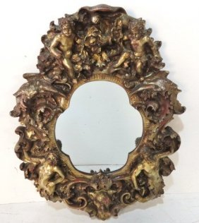Gothic Unusual Large Mirror With Figures