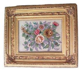 Persian Tabriz Pictorial Flowers Rug Framed