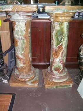 A Magnificent Pair Of Onyx Marble Pedestals 36""