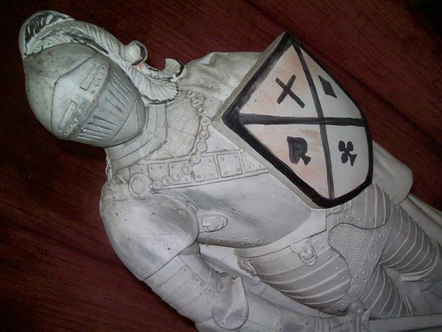 """A plaster Knight Statue 22"""" inches tall - 8"""