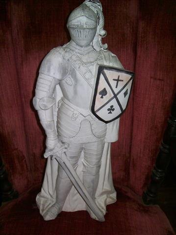 """A plaster Knight Statue 22"""" inches tall - 9"""