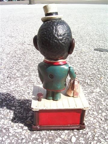 BLACK AMERICANA Painted Cast Iron jolly Mechanical Bank - 4