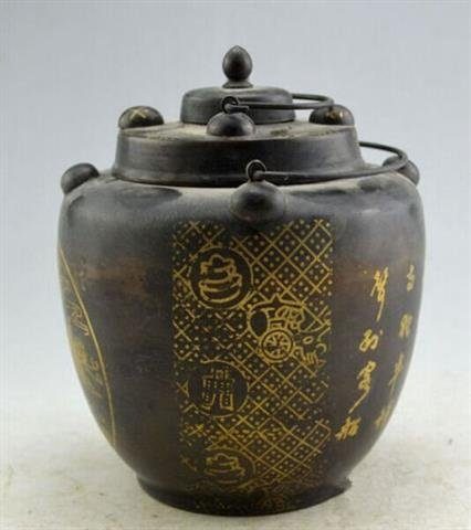 Used Old Chinese Ink holder with inscriptions - 3