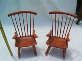 Pair of Small toy Doll Rocking chairs