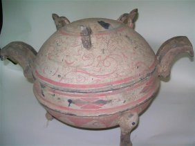 Chinese clay cooking Spring And Autumn Vessel , Ding