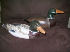 Two handpainted Wooden Duck decoys