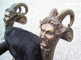 Antique French Bronze Mythical MANGOAT Satyr Chair