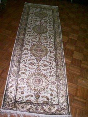 Silk handmade oriental rug - Runner