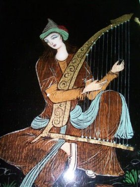 Persian Wood Panel painting of a Harp Player art