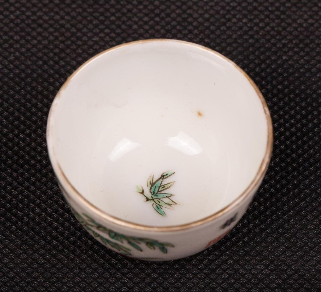 PAIR OF CHINESE FAMILLE ROSE TEA CUPS - 3