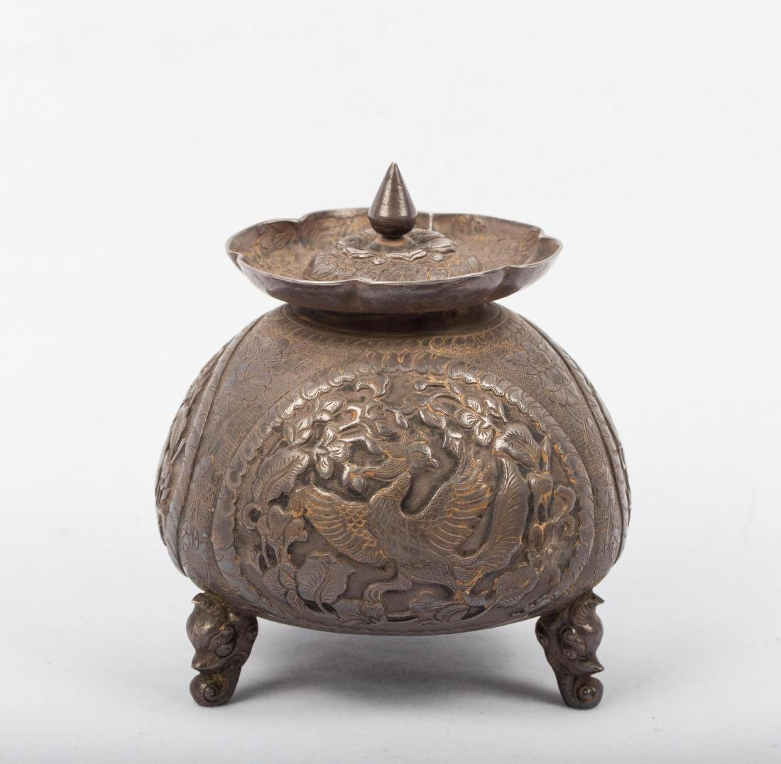 CHINESE SILVER COVER JAR