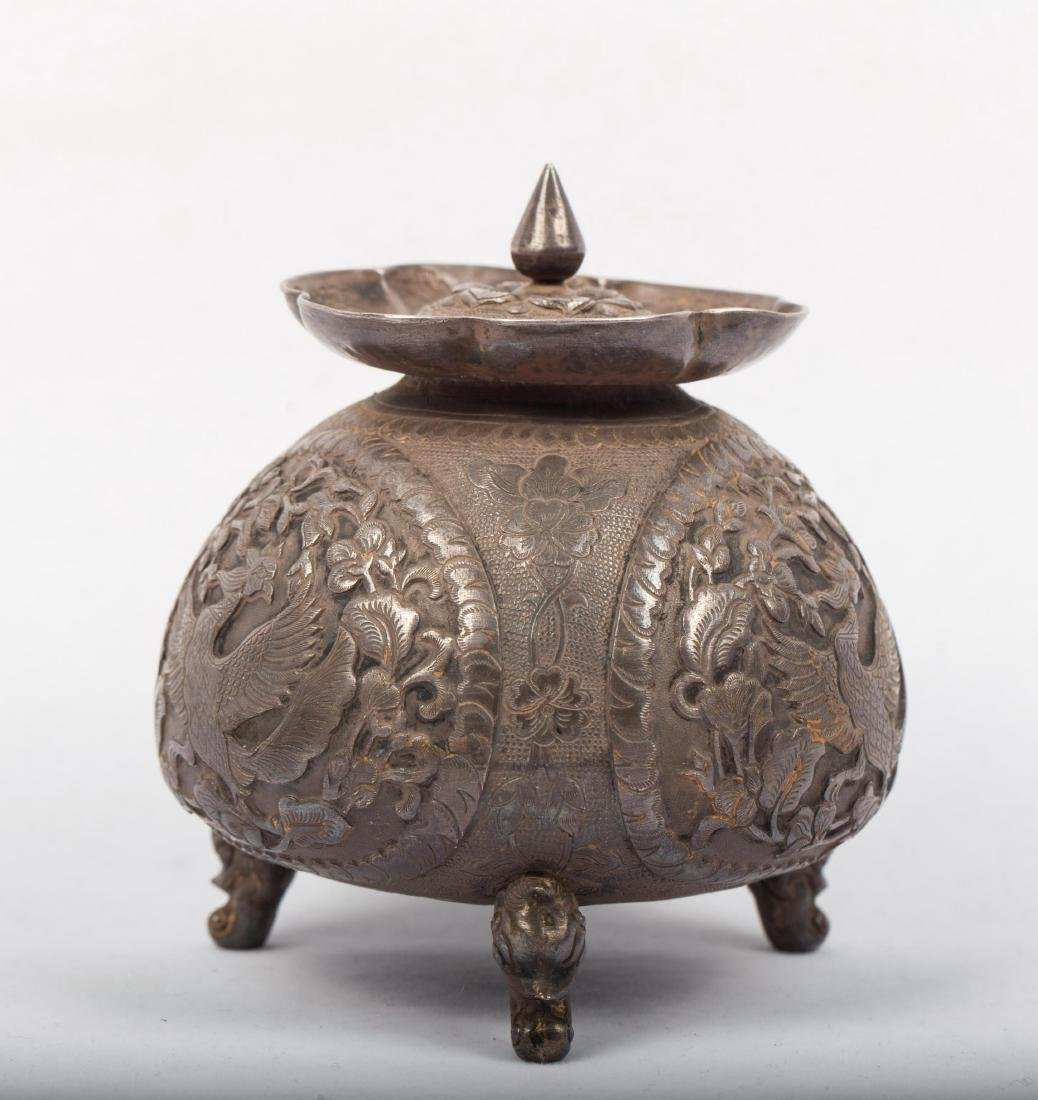 CHINESE SILVER COVER JAR - 5
