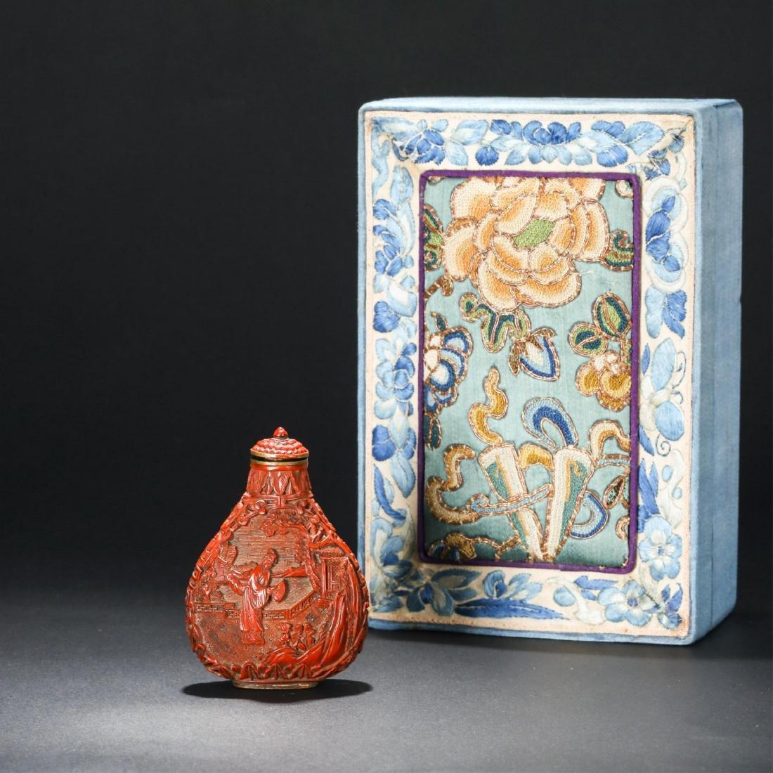 CHINESE CINNABAR LACQUER SNUFF BOTTLE ORIGINAL BOX