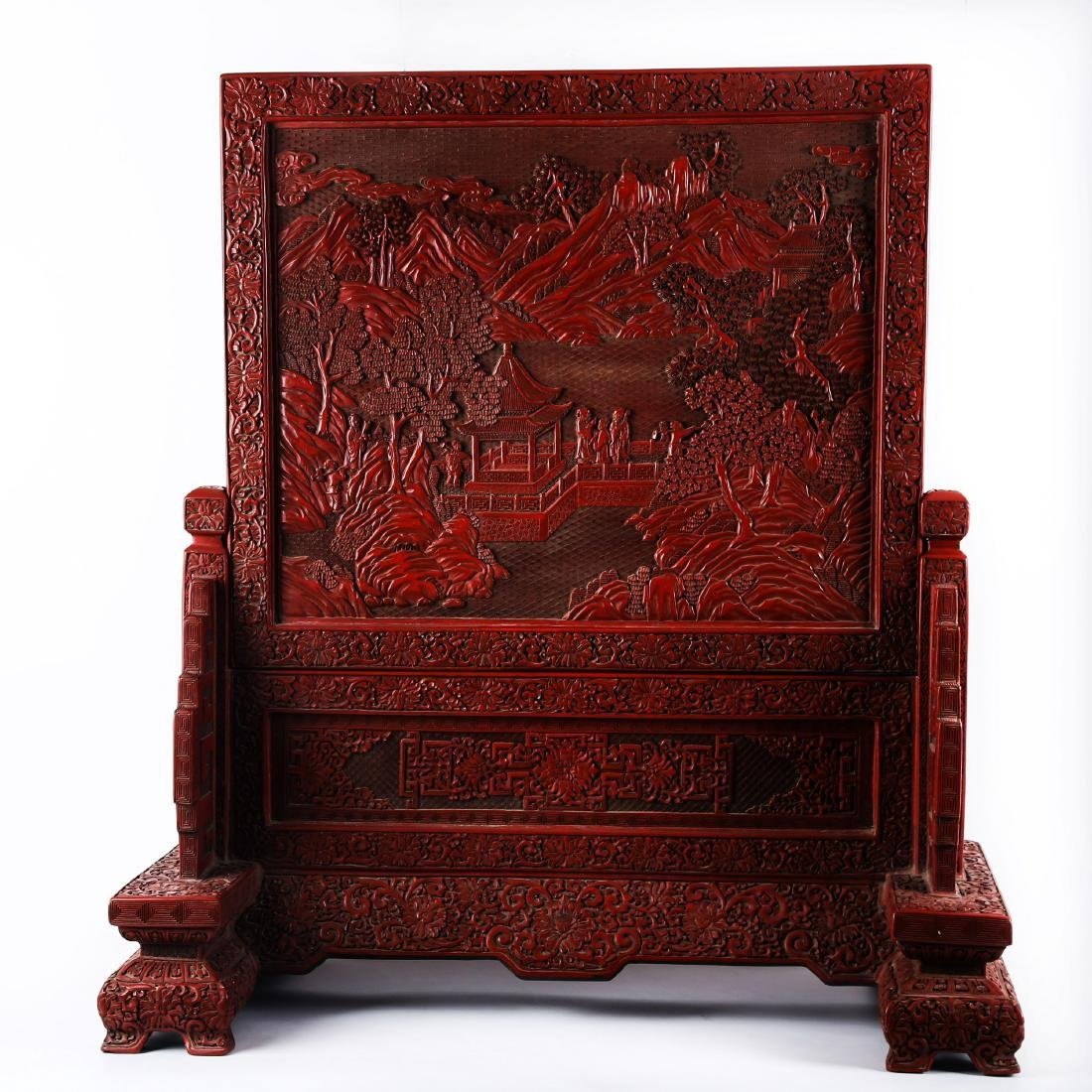 LARGE CHINESE CINNABAR LACQUER TABLE SCREEN