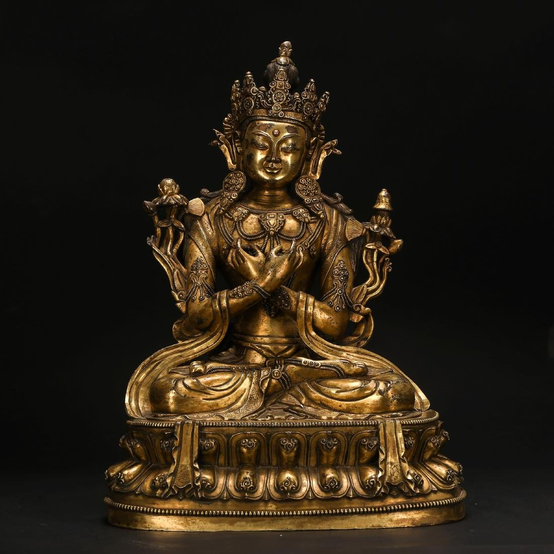 CHINESE GILT BRONZE FIGURE OF SEATED TARA