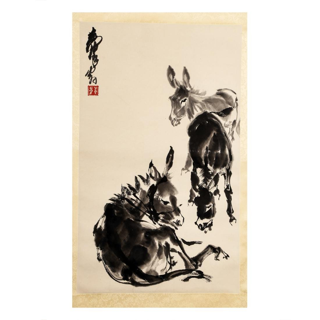 CHINESE PAINTING OF DONKEYS BY HUANG ZHOU