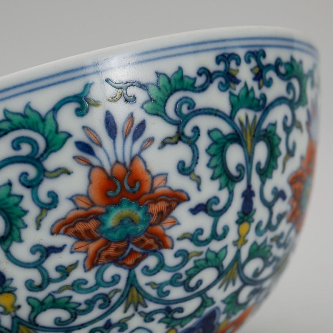 CHINESE QING DYNASTY DOUCAI PORCELAIN FOLIAGE BOWL - 3