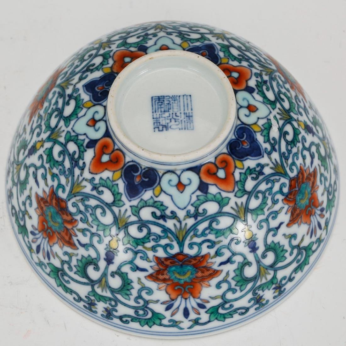 CHINESE QING DYNASTY DOUCAI PORCELAIN FOLIAGE BOWL - 4