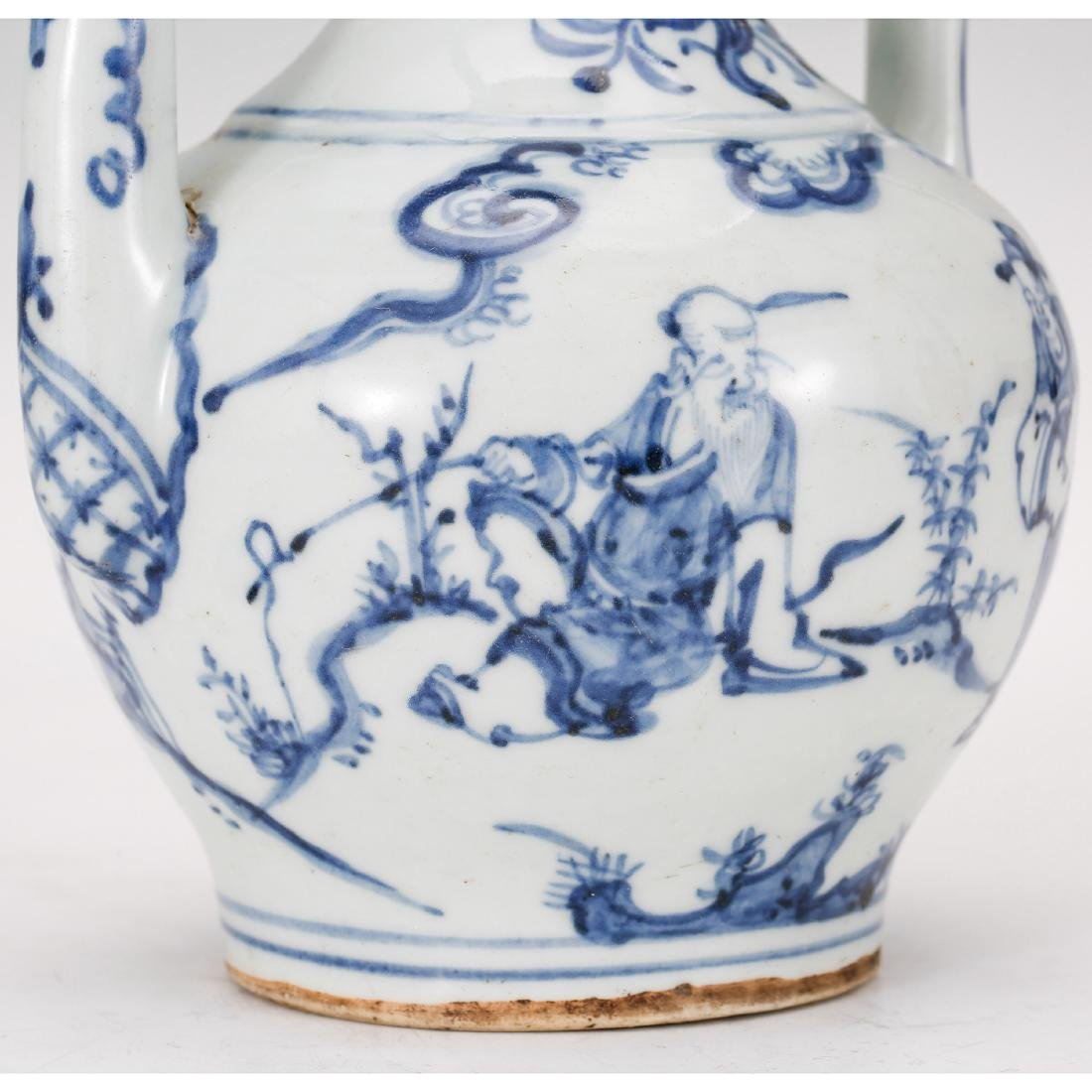 CHINESE BLUE AND WHITE PORCELAIN WINE EWER - 8