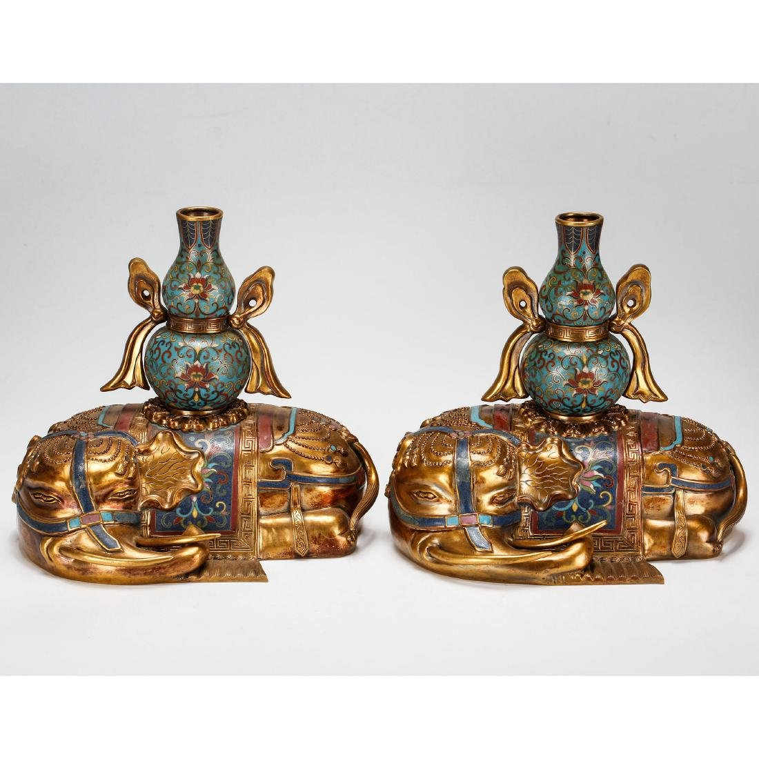 PAIR OF CHINESE CLOISONNE ELEPHANTS, QING DYNASTY