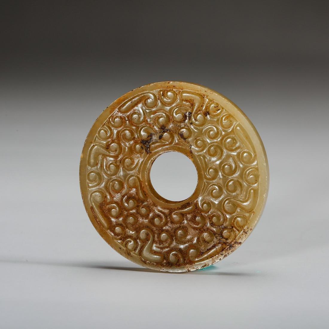 CHINESE ARCHAIC JADE BI DISK, HAN DYNASTY