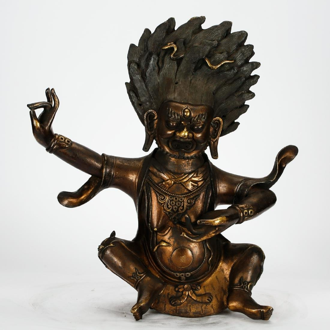 CHINESE BRONZE FIGURE OF PALDEN LHAMO, QING DYNASTY