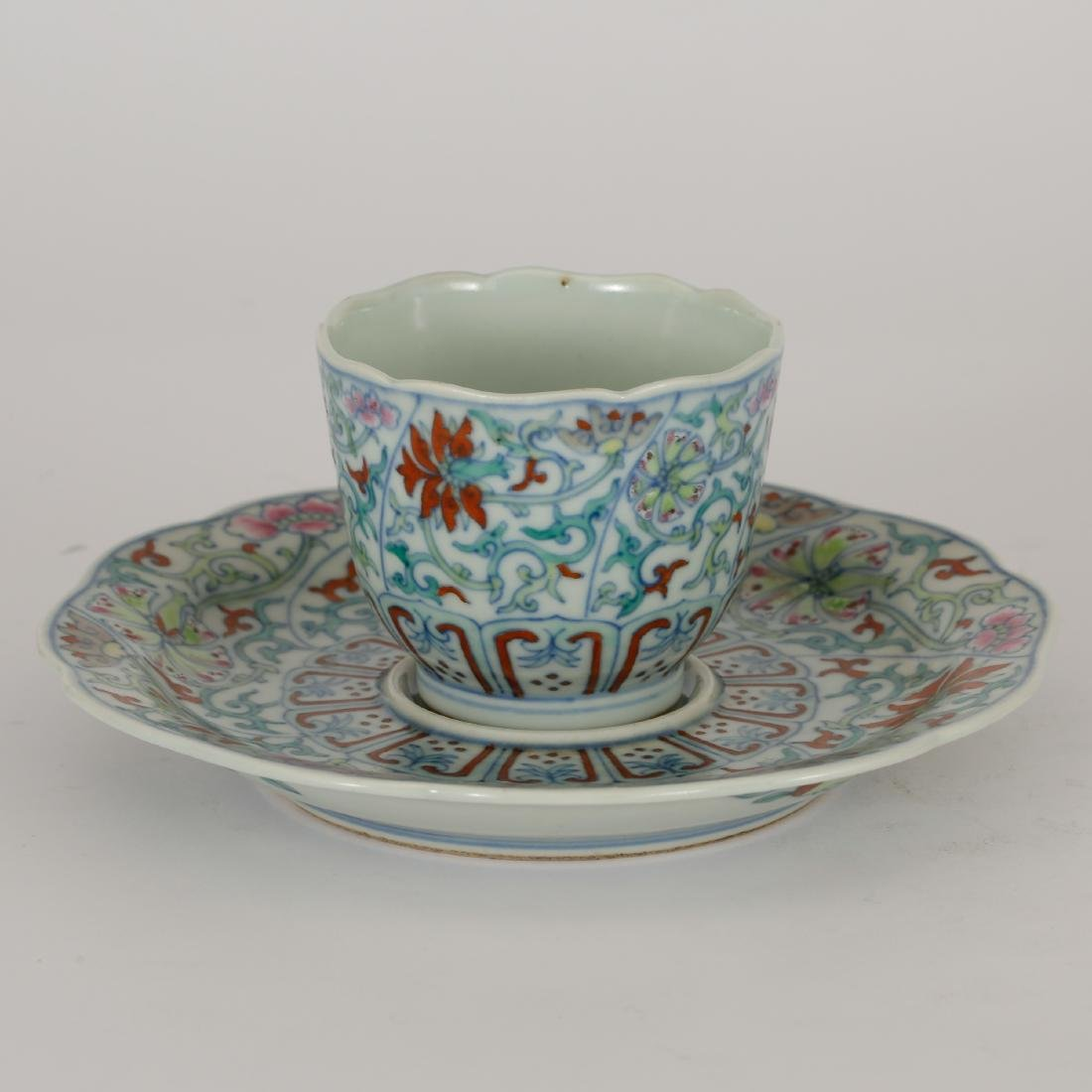 CHINESE DOUCAI CUP AND SAUCER