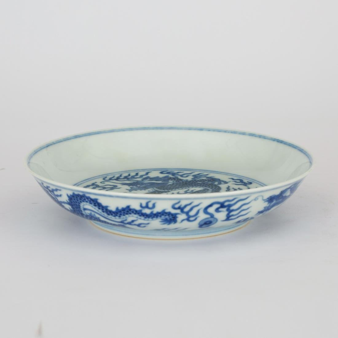CHINESE BLUE AND WHITE DRAGON PLATE - 2