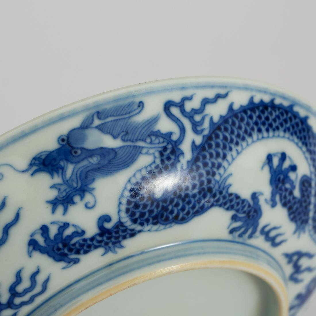 CHINESE BLUE AND WHITE DRAGON PLATE - 4