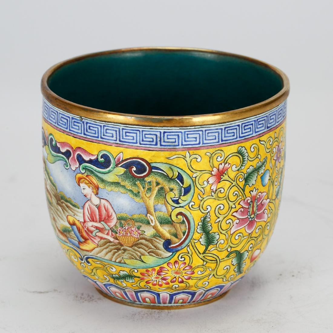 CHINESE BRONZE ENAMEL CUP - 2