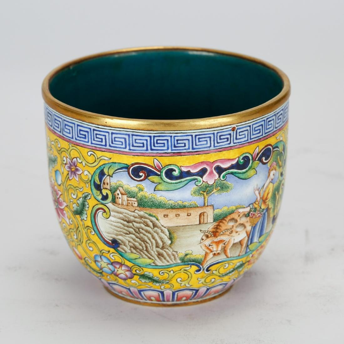 CHINESE BRONZE ENAMEL CUP - 3