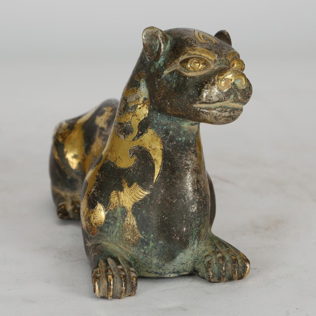 CHINESE ARCHAIC BRONZE FIGURE OF COUGAR - 4