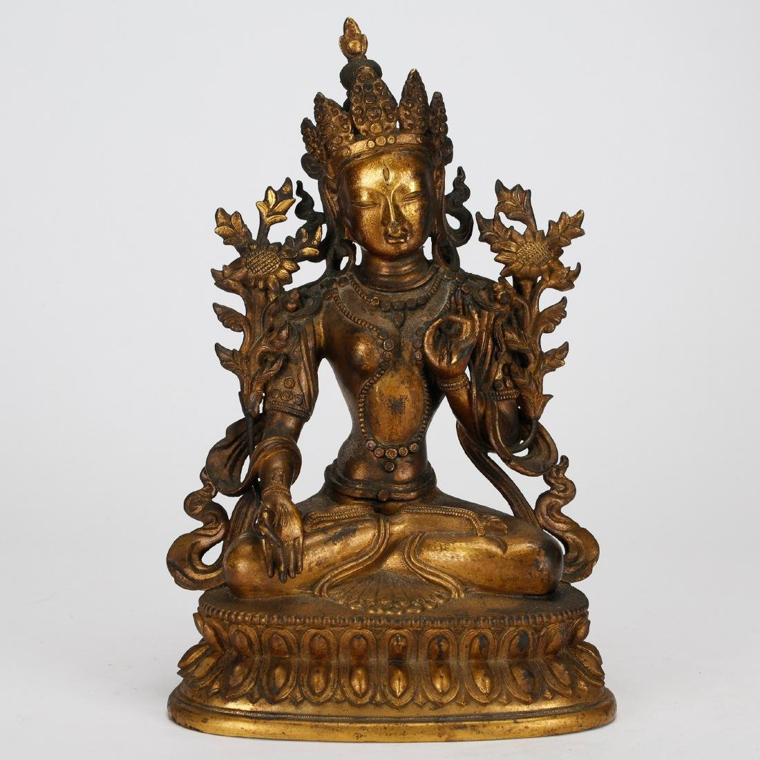 CHINESE GILT BRONZE TARA