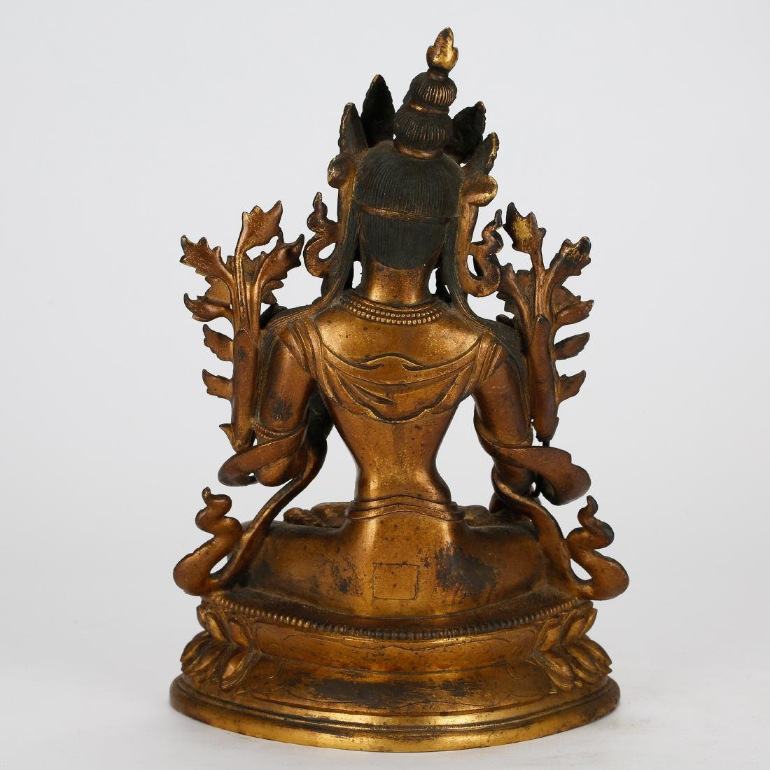 CHINESE GILT BRONZE TARA - 3