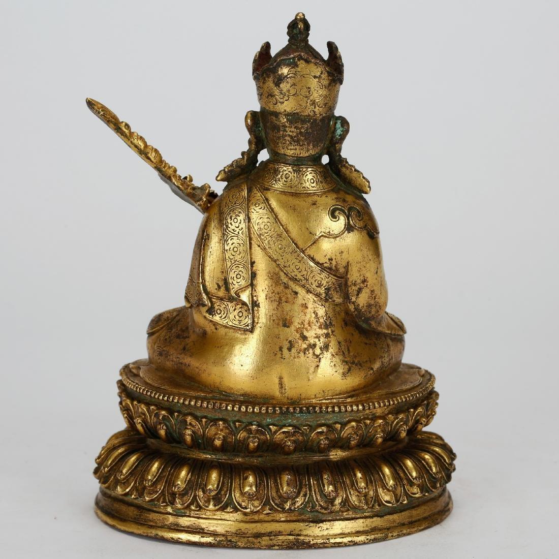 CHINESE GILT BRONZE PADMASAMBHAVA - 3