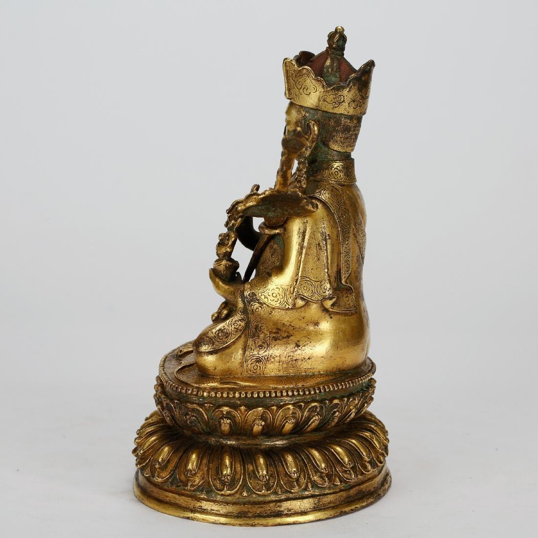 CHINESE GILT BRONZE PADMASAMBHAVA - 4