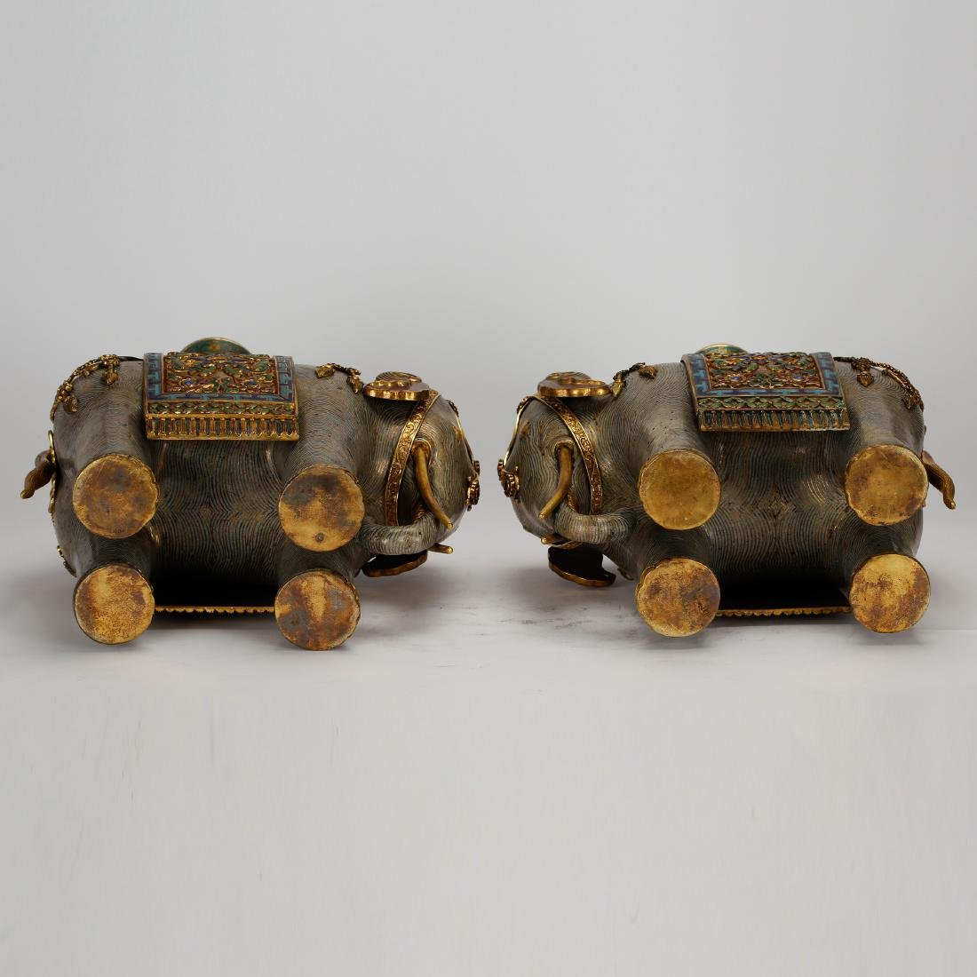 CHINESE PAIR OF CLOISONNE ELEPHANTS - 10